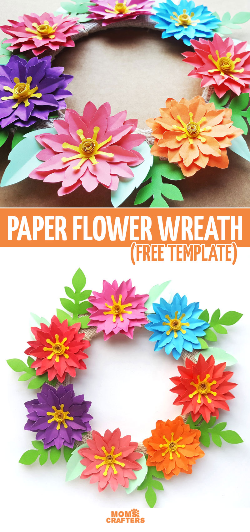 Click for a free printable paper flower templates and to learn how to make some beautiful spring and summer decor with a paper flower wreath tutorial