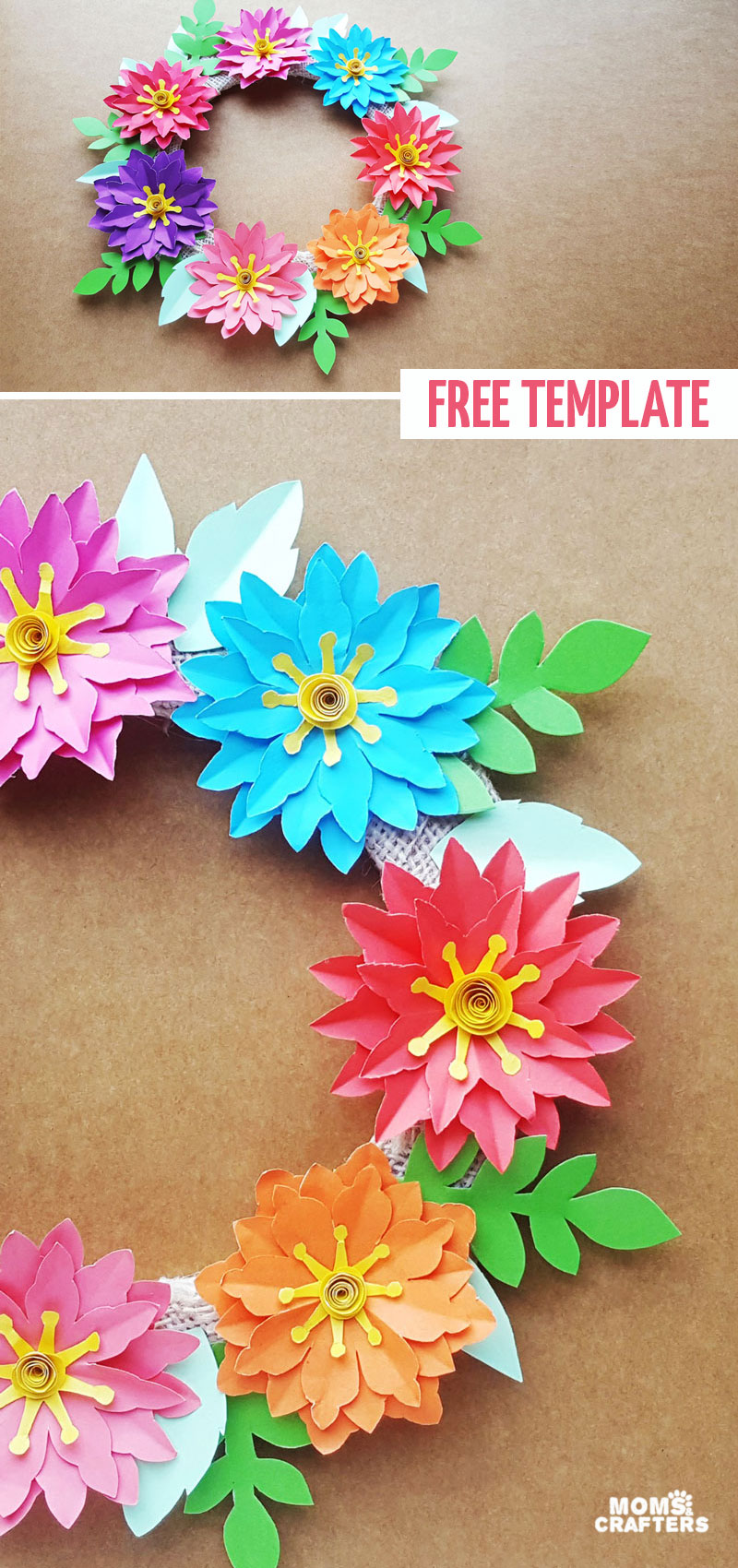 Click for a beautiful paper flower wreath tutorial and free printable templates for this fun Spring home decor project for teens