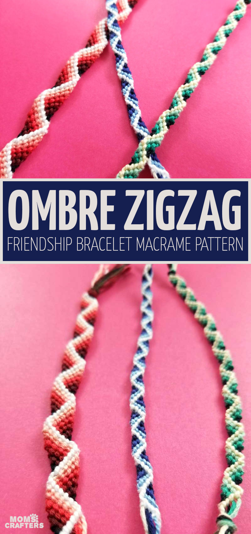 Click for a beautiful zig zag friendship bracelet pattern - an ombre macrame bracelet with a 3D ribbon effect! This stunning friendship bracelet knotting tutorial is appropriate for tweens, teens and even adults.