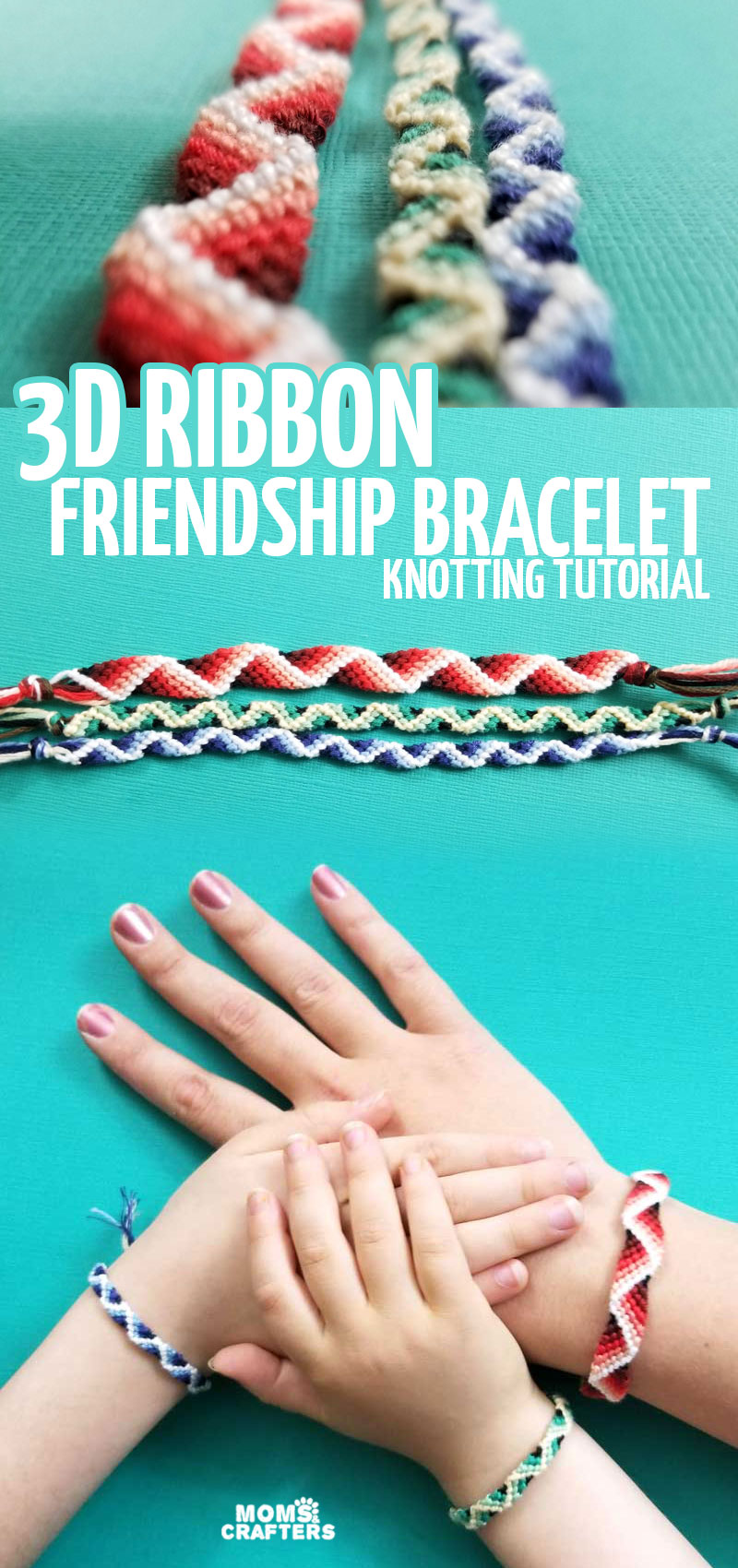Click to learn how to mkae a 3D zig zag friendship bracelet from embroidery floss. This fun bracelet knotting tutorial is a fun jewelry making and summer crafts for teens and tweens.