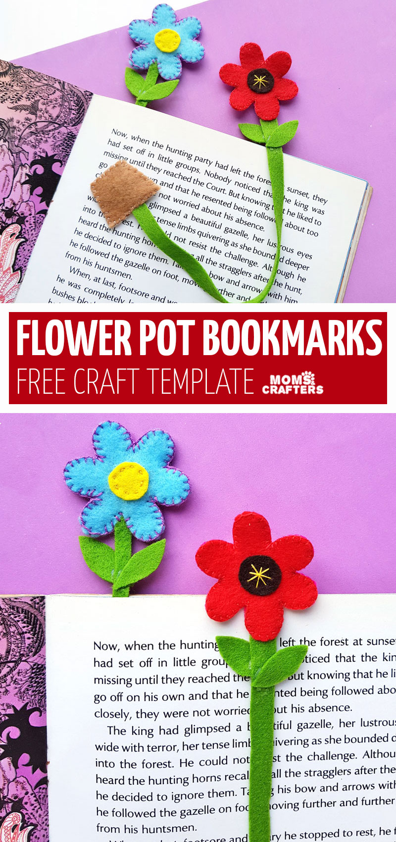 Click for a free template to make this flower bookmarks craft! This fun back to school craft for tweens is great to encourage reading and a fun beginner sewing project fort eens and tweens.
