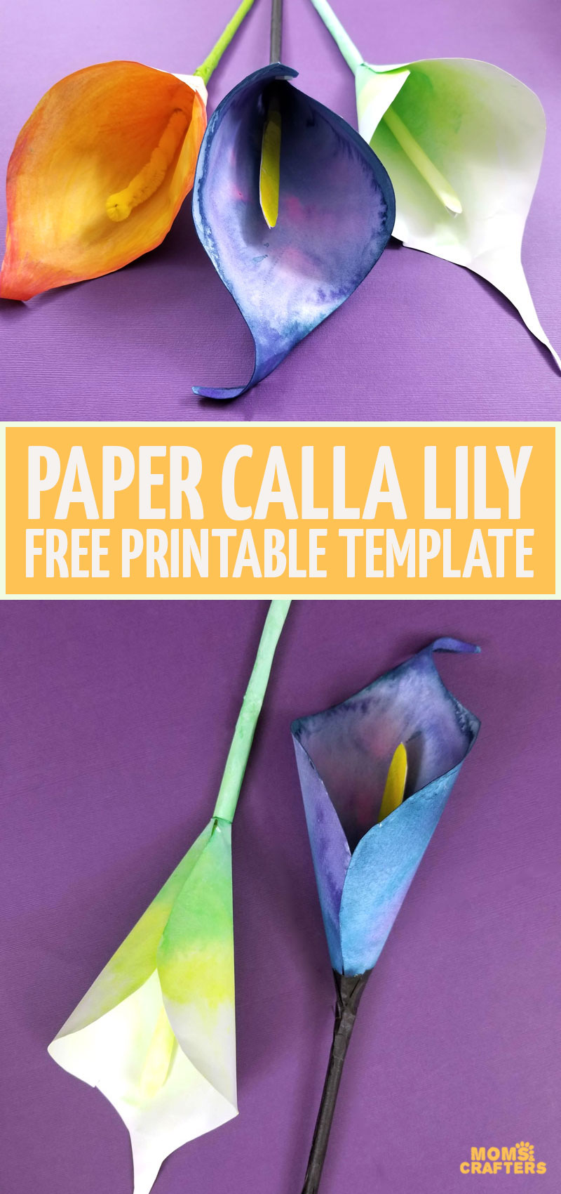 Want to learn a beautiful process for making watercolor paper flowers? Click to learn how to make a paper calla lily with free printable templates. These paper flowers are perfect for Mother's Day!