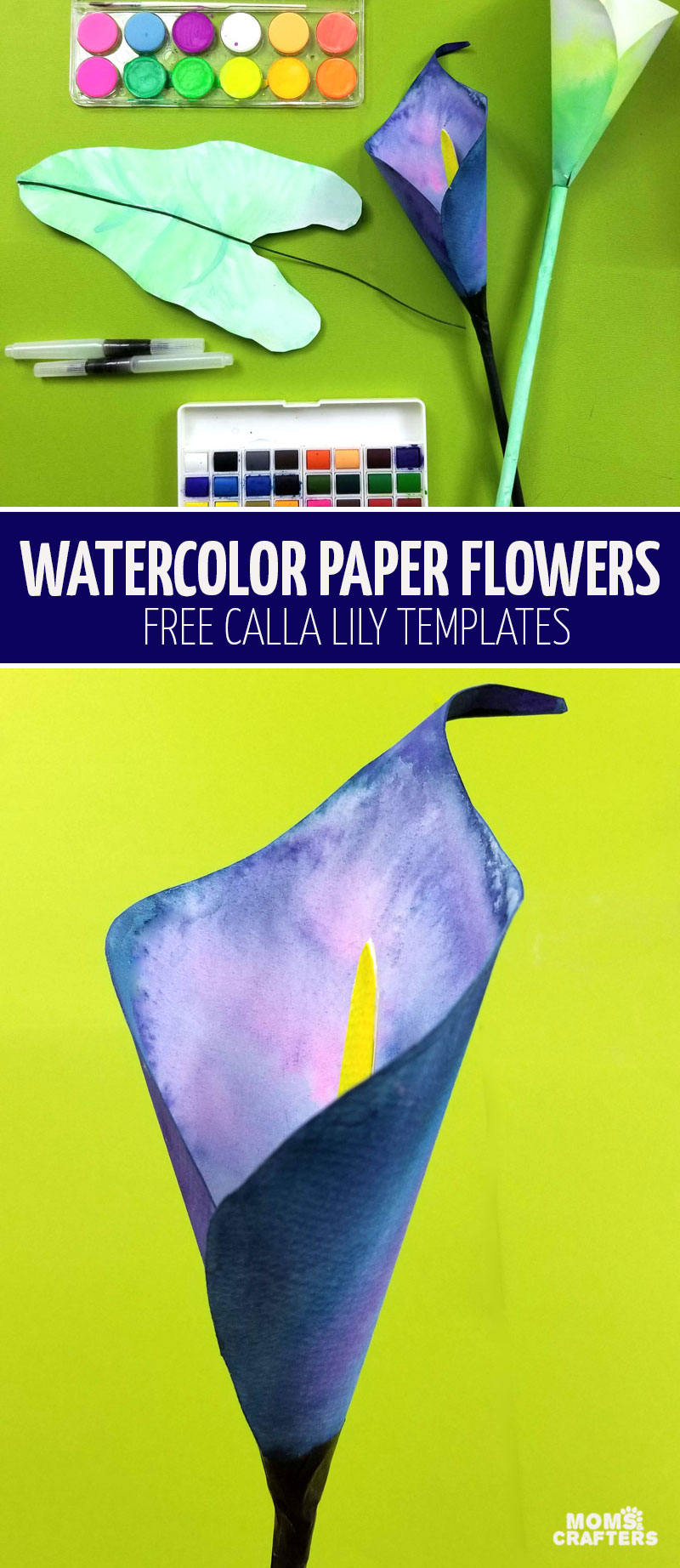 Click to learn how to make a paper calla lily with a free printable template! This fun paper flower tutorial and templates helps you make 3D watercolor flowers - a fun Mother's Day craft and DIY gift for teens to give!