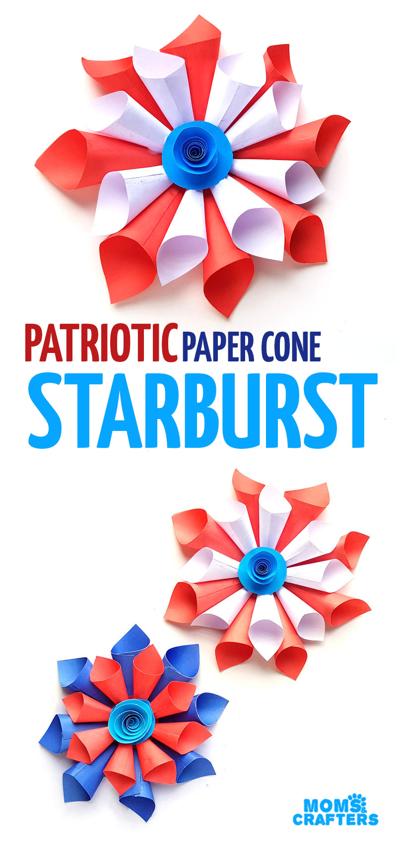 Make some DIY paper 4th of July Decorations and patriotic paper cone starburst wreath! These red white and blue paper decorations are perfect for Independence day picnics and fun crafts for eveyone.