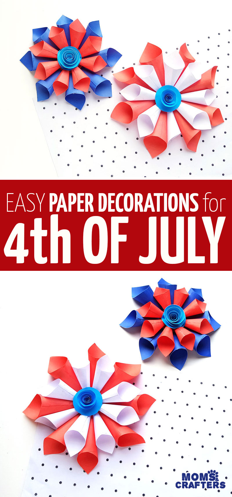 Clcik for cool paper 4th of July decorations made from paper cones in a starburst shape with a rosette! These fun Patriotic independence day decor ideas are fun crafts for kids teens tweens and grown-ups.