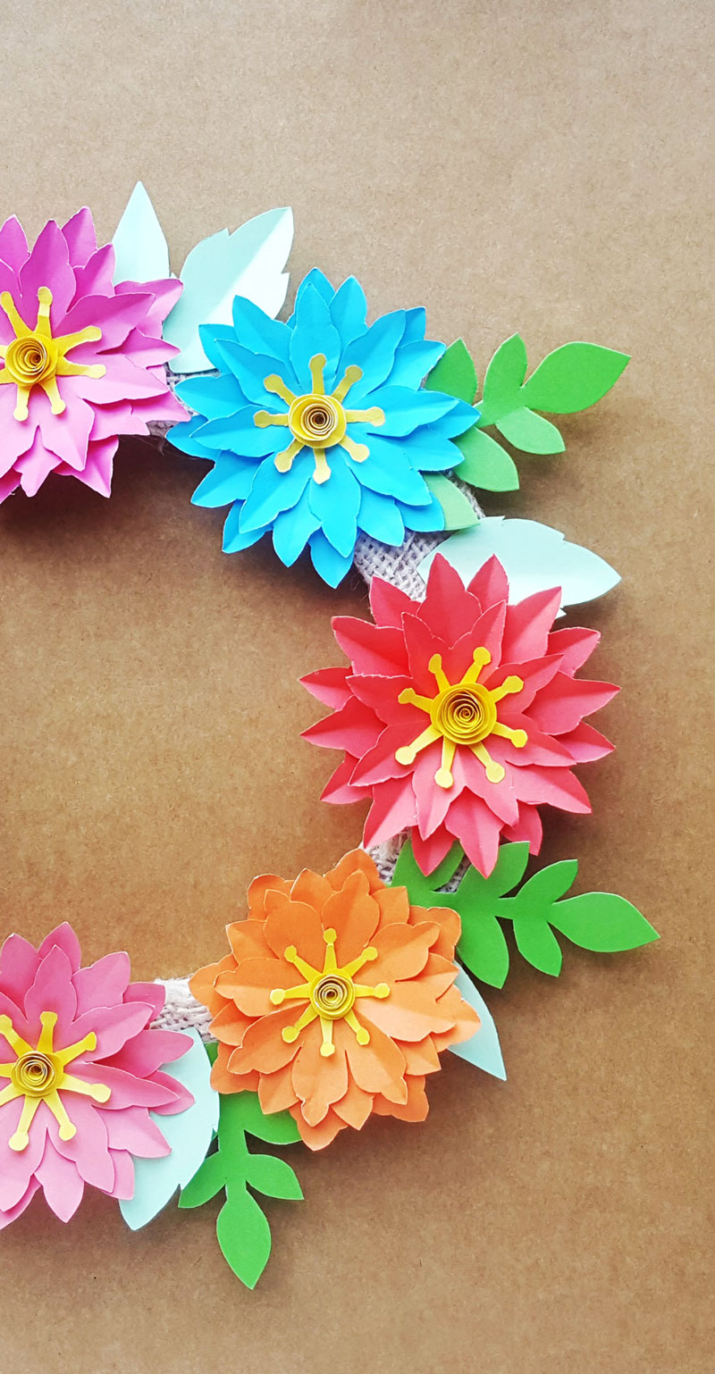 Paper Flower Wreath Tutorial Free Printable Templates