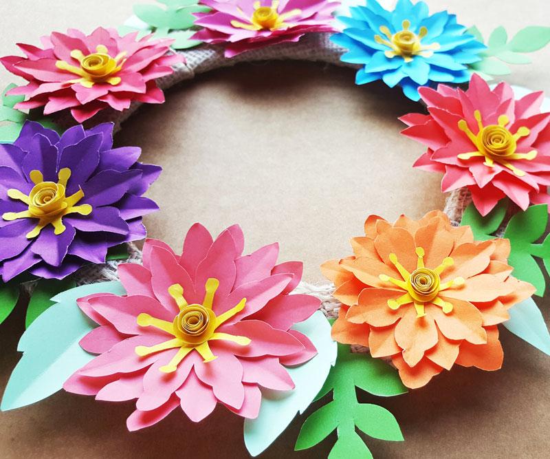 Paper Flower Wreath Tutorial Free Printable Templates