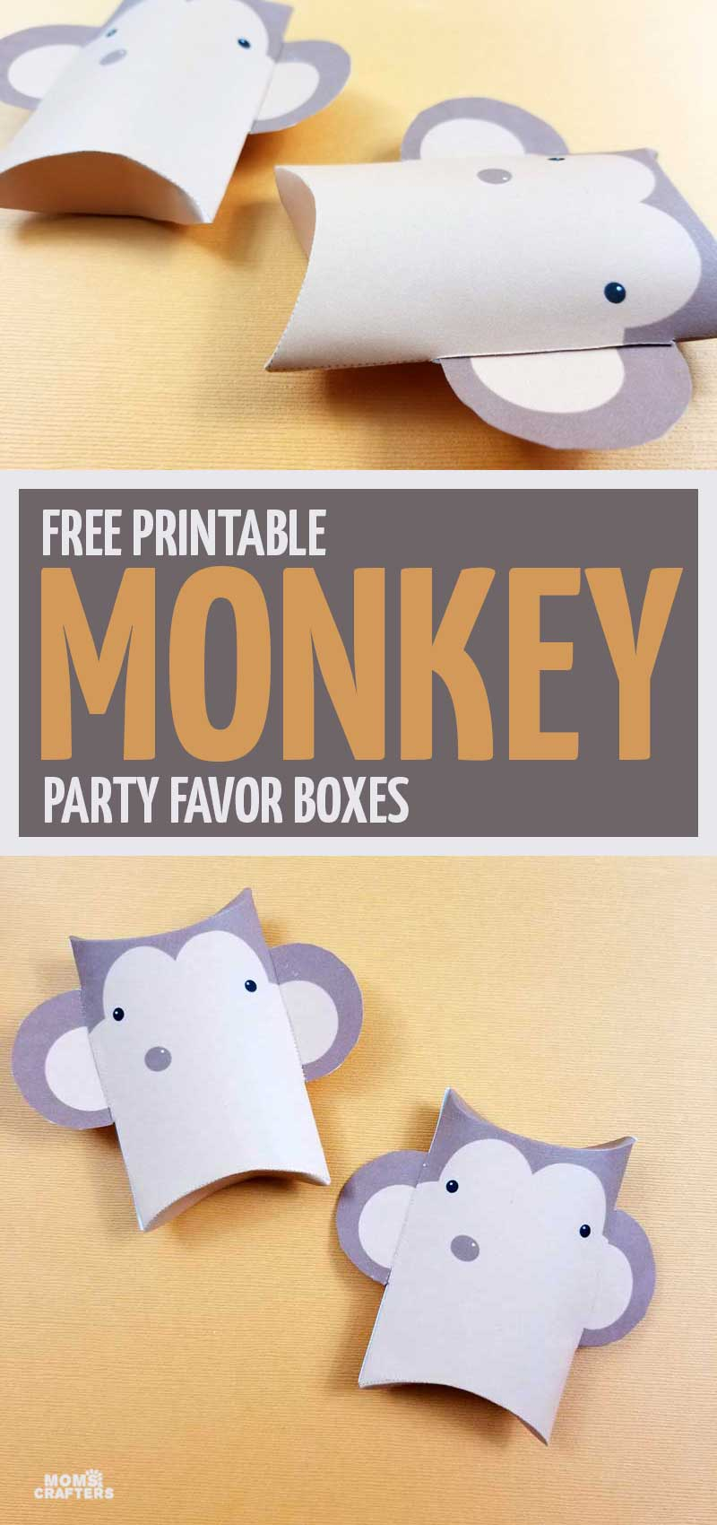 Pin it: these fun monkey party favors will be the hit of your monkey birthday parties! Click for the free printable treat boxes. More monkey birthday party ideas coming soon.