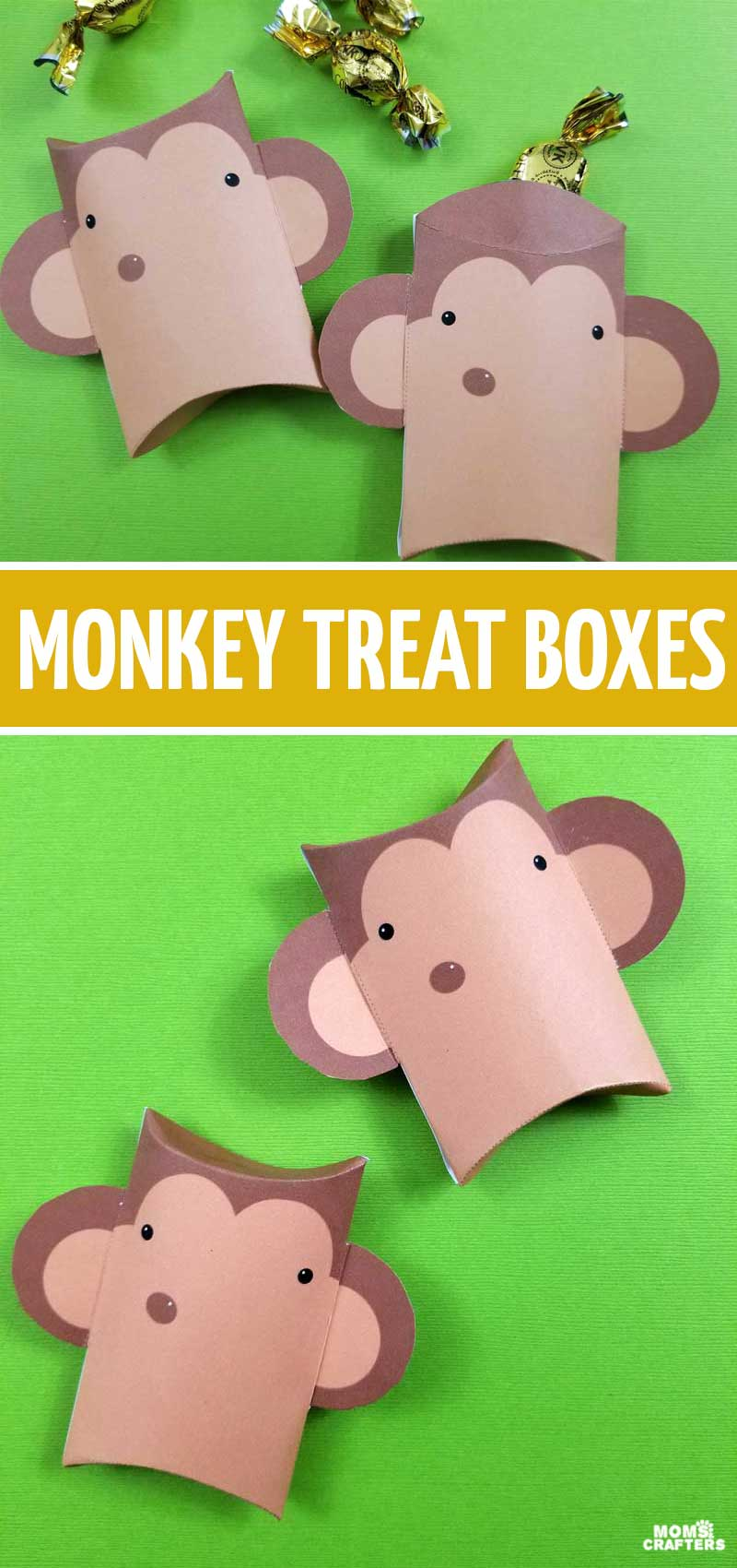 Click to download these monkey party favor boxes - fun paper pillow boxes to use as treat boxes at a monkey birthday party! These fun monkey goody bag ideas are so adorable!