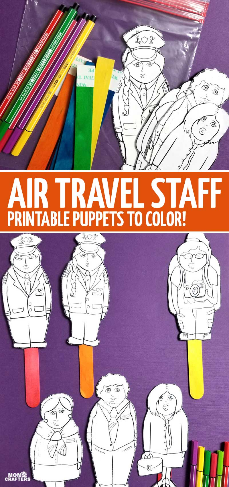 Click for these plane travel puppets - a fun airplane travel activity for toddlers and kids! This fun airplane craft is a fun travel craft for doing on the airplane or in the airport.