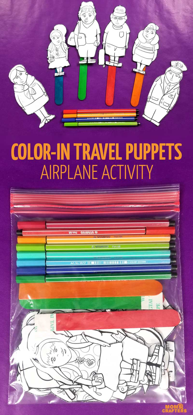 Love these travel activities for kids! Printable stick puppets - these plane travel puppets airplane coloring pages and activities