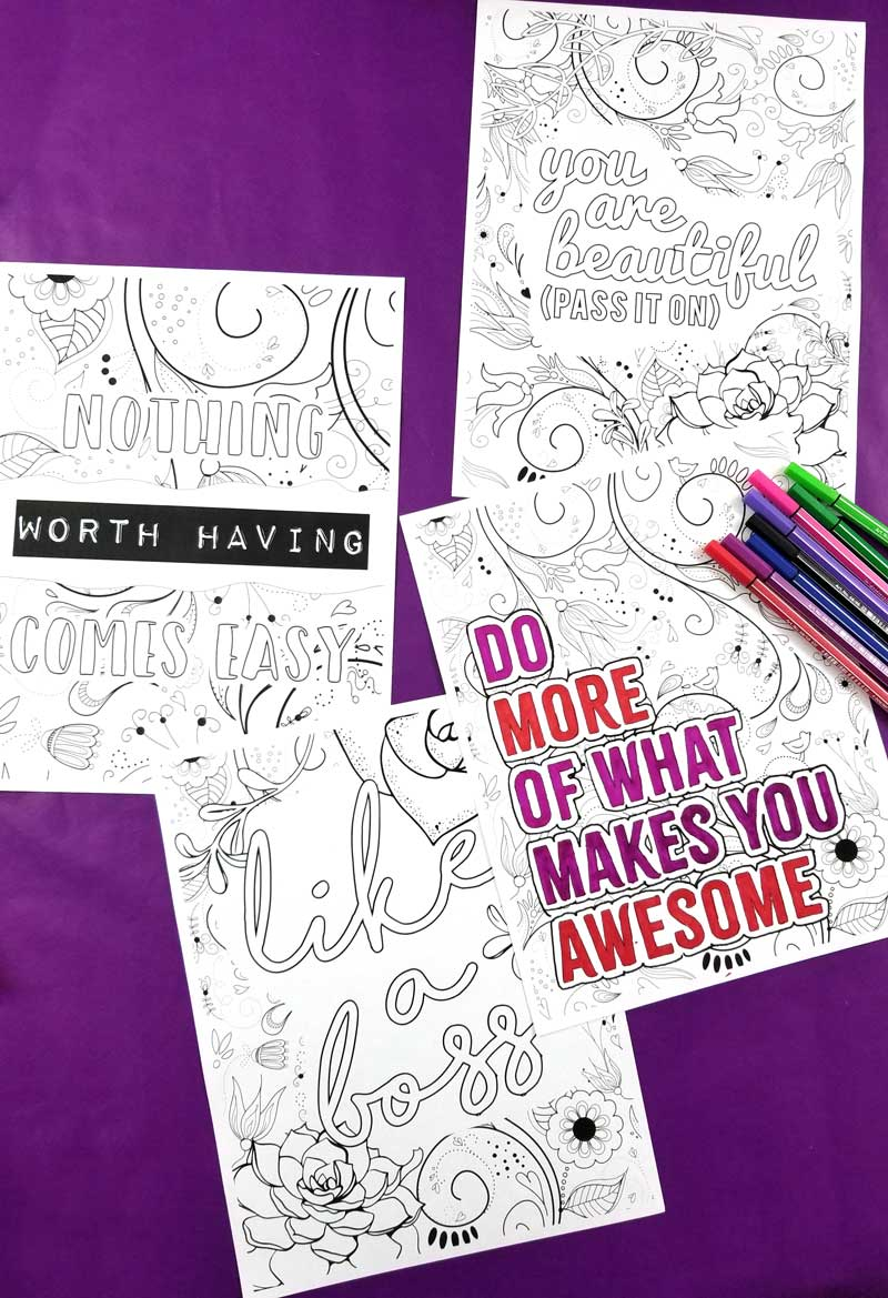 Click to download 4 motivating coloring pages for girls 10 and up - fun free printable coloring pages for teens tweens and adults.