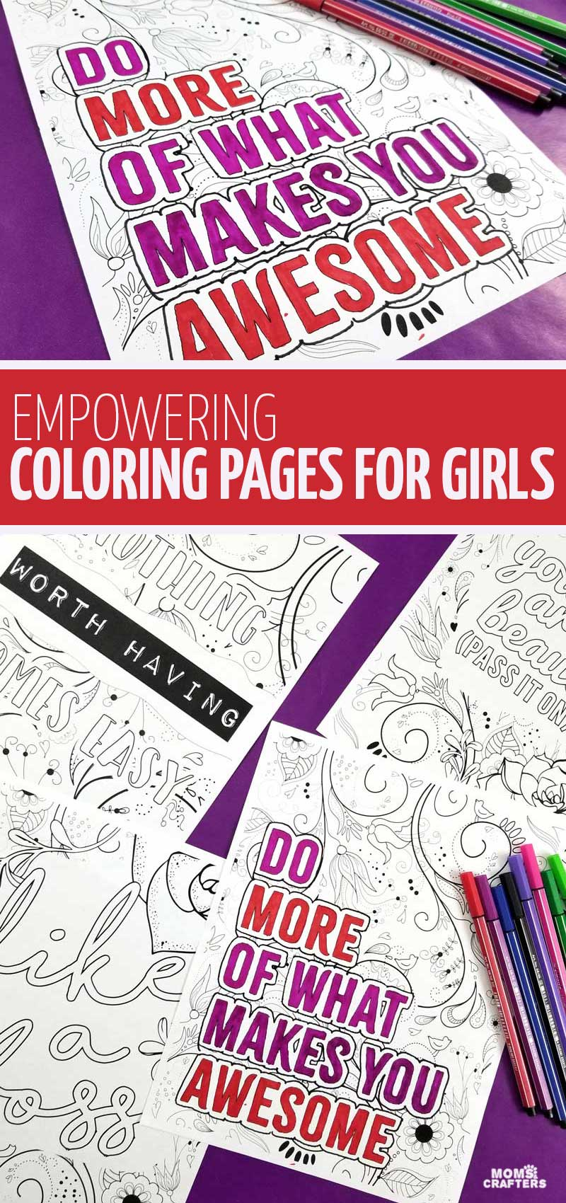 Click to download some empowering coloring pages for girls 10 and up - including fun colouring pages with motivating statements for teenage girls and tweens too! These Adult and teen colouring pages are free printables and really fun.