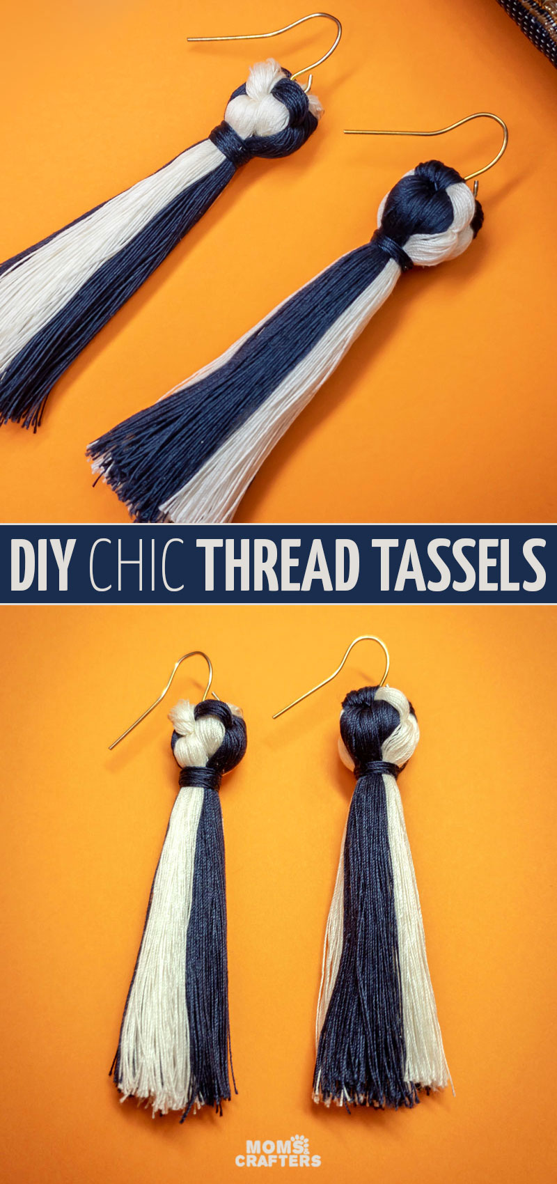 Click to learn how to make earrings with thread. These fun dangle tassel earrings are sophisticated but an easy jewelry making project for beginners. You'll love this silk thread earring tutorial