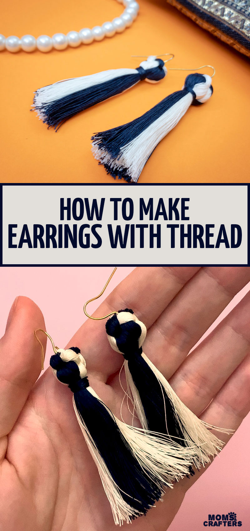 Learn how to make chic tassel earrings with thread, a cool DIY earrings tutorial for beginners