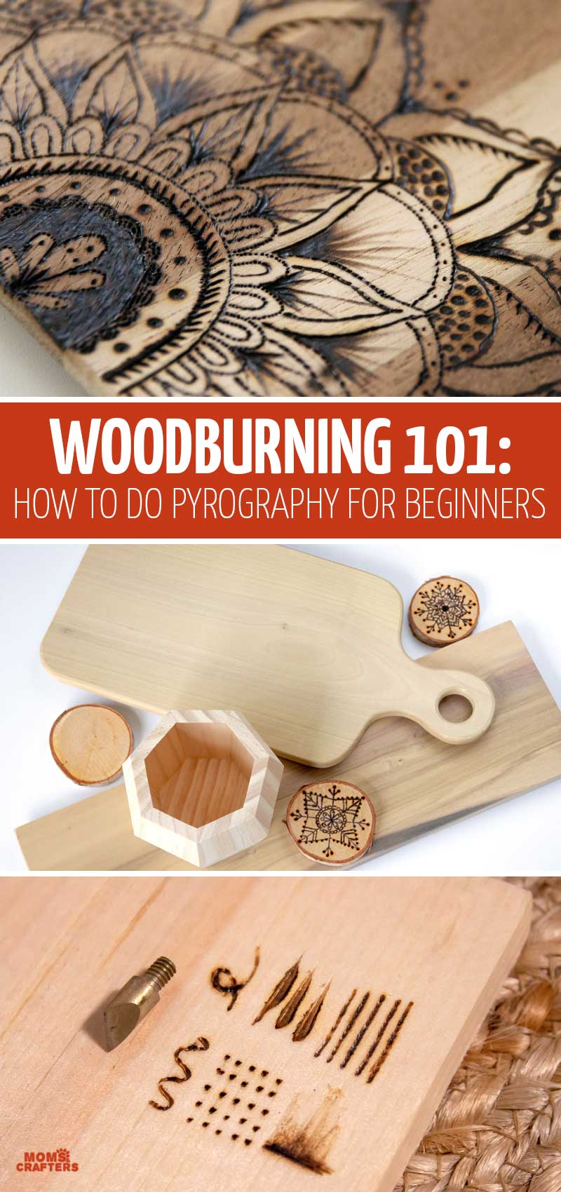 Click for a full woodburning tutorial for beginners! This teaches you woodburning tools, tips, techniques, patterns, strokes, designs, and more - basically everthing you need to know to learn how to do pyrography