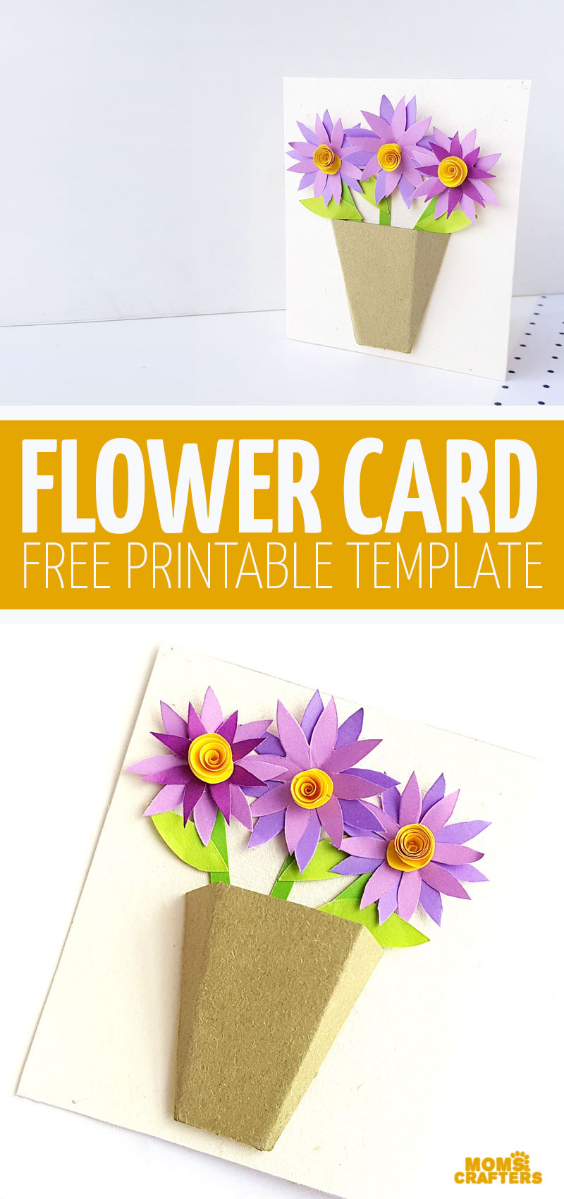 Learn how to make a 3D flower bouquet card with this free printable paper craft template! This is fun for Mother's Day, or do it in poinsettia colors for Christmas.