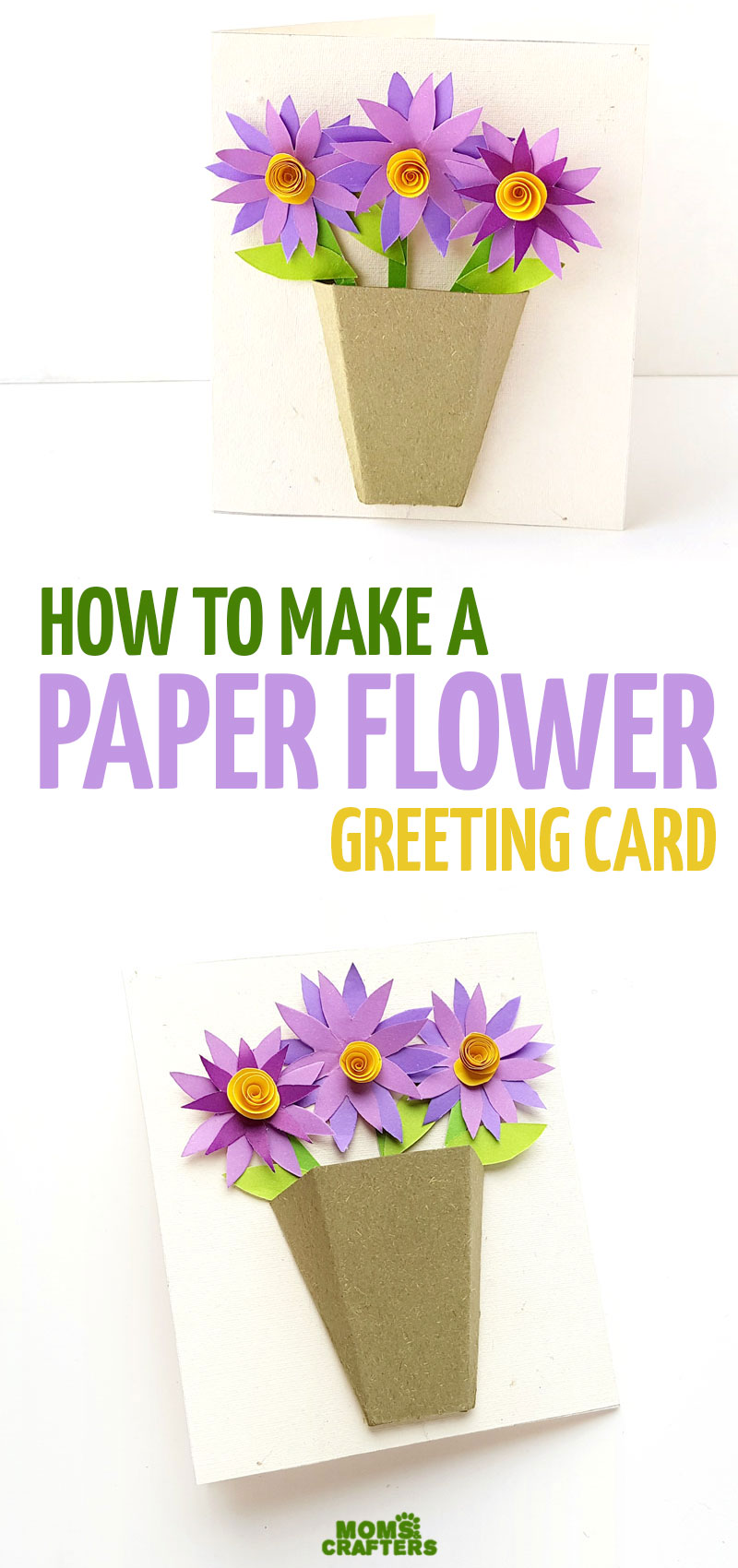 Make a DIY paper flower card with a 3D flower bouquet - a fun and easy paper craft for teens and tweens, for Spring, or for any time