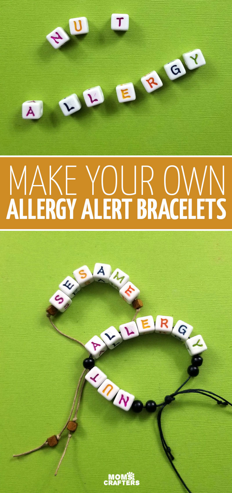 Make your own food allergy bracelets! This fun jewelry making project for kids is a sweet way to create allergy alerts - especially when you need them for a specific instance, such as travel, and not long term.