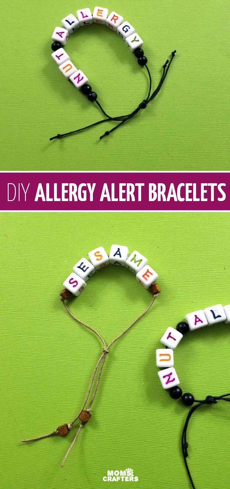 Food allergy mom tips and hacks - make your own food allergy bracelets! These allergy alert bracelets are fun for kids to make and wear.