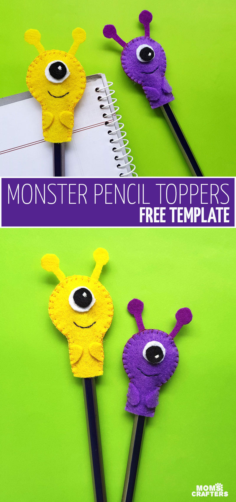 Craft some DIY school supplies with this monster pencil toppers craft! These fun back to school crafts for teens, tweens, and big kids are super fun adn great for Halloween or monster party favors too.