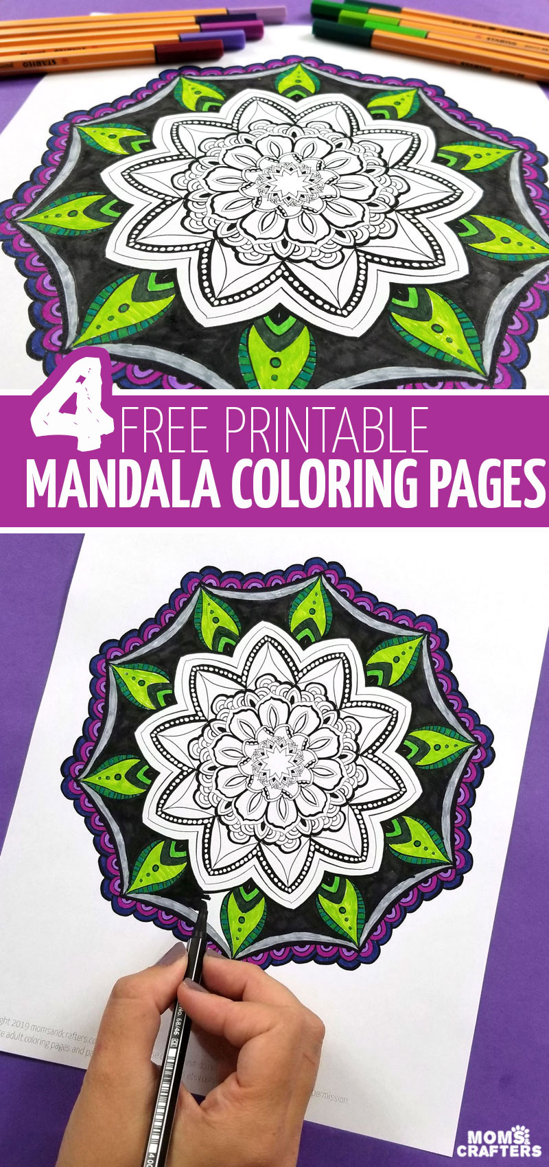 4 free printable mandala coloring pages for adults, teens, and tweens! Try some mindful, stress-reducing, relaxing colouring for grown-ups