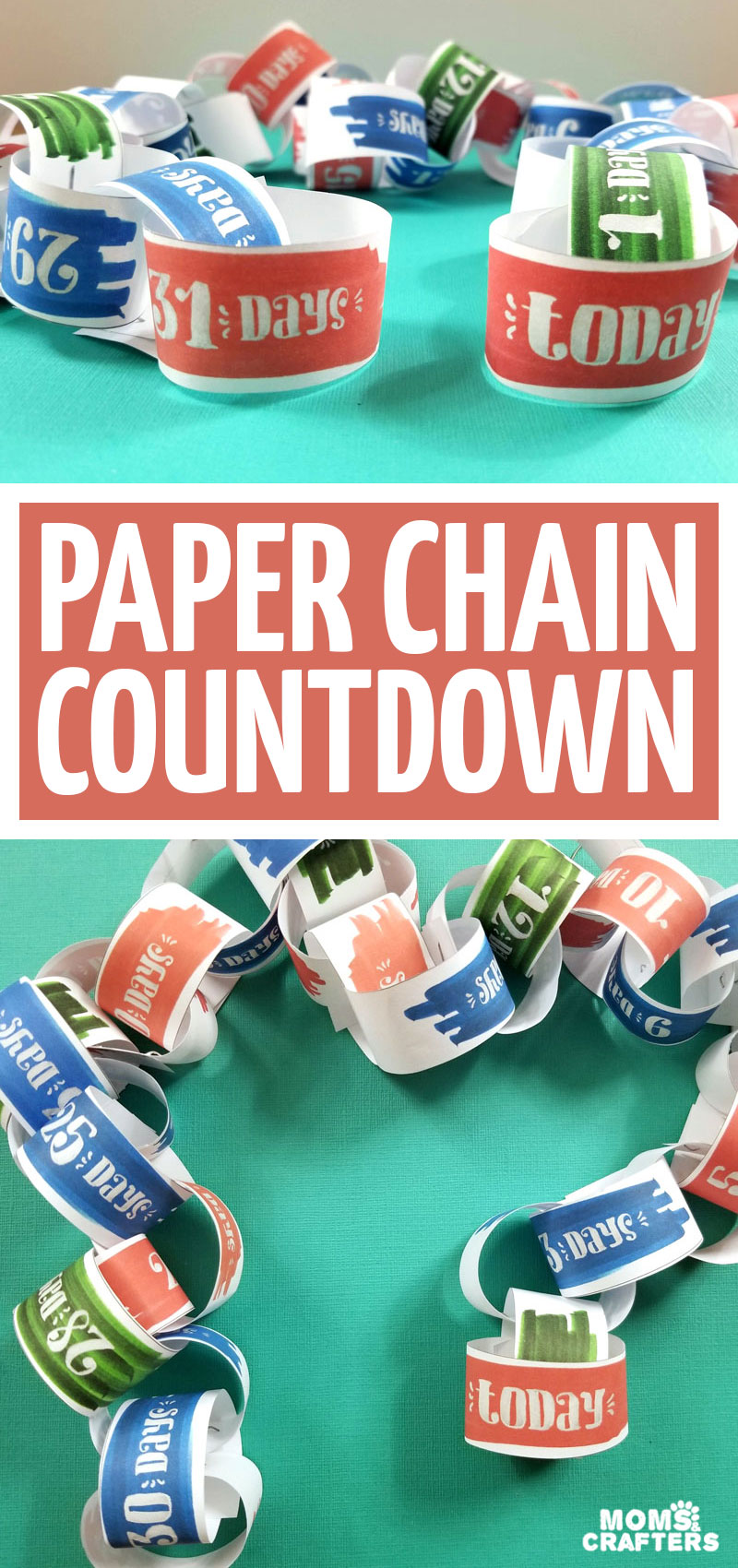 Click to download a free printable vacation countdown calendar! This fun paper chain countdown is perfect for travelling with kids and counting down the days!