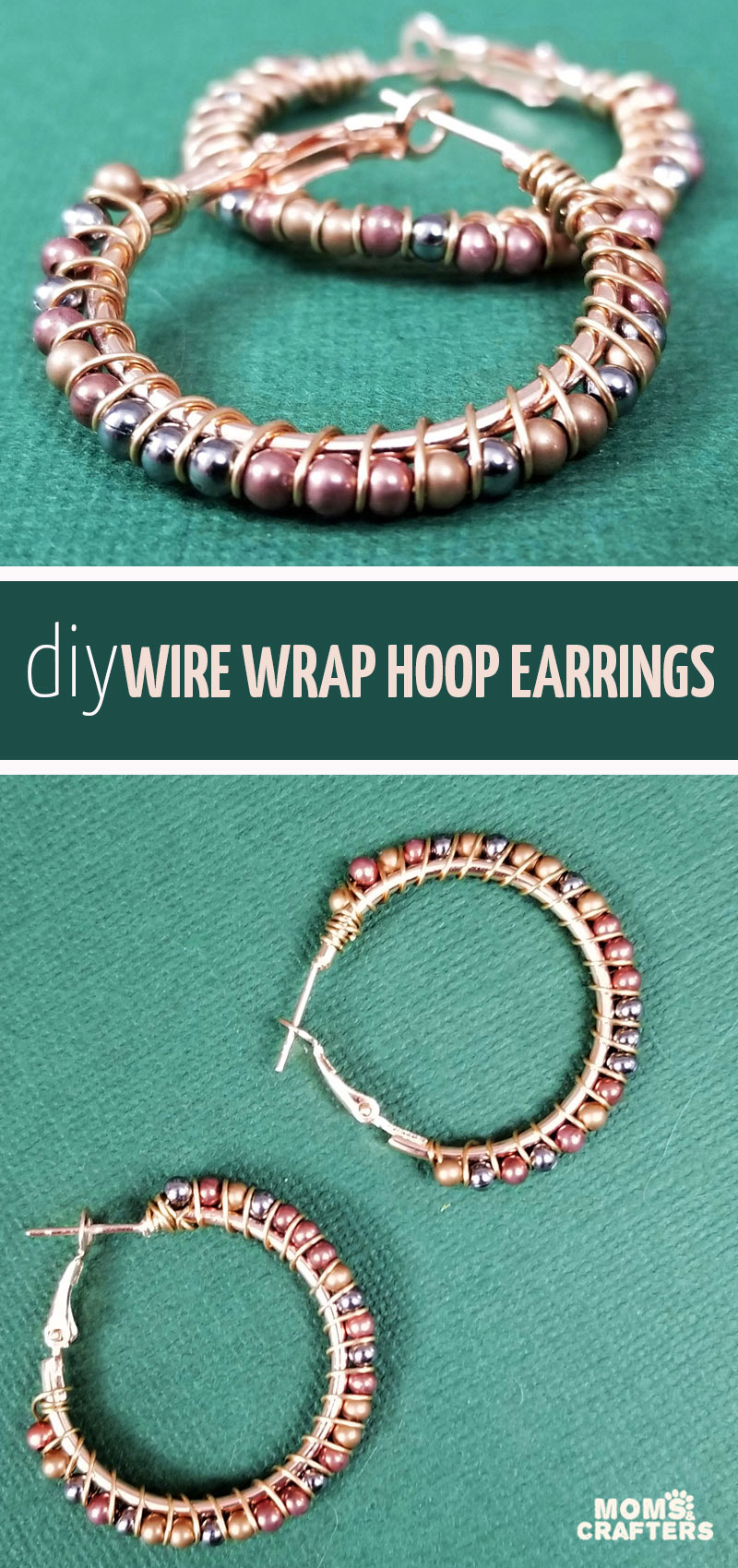 Click to learn how to mkae DIY wire wrapped hoops! This tutorial will teach you how to wire wrap hoop earrings in an easy jewelry making project for teens and beyond.