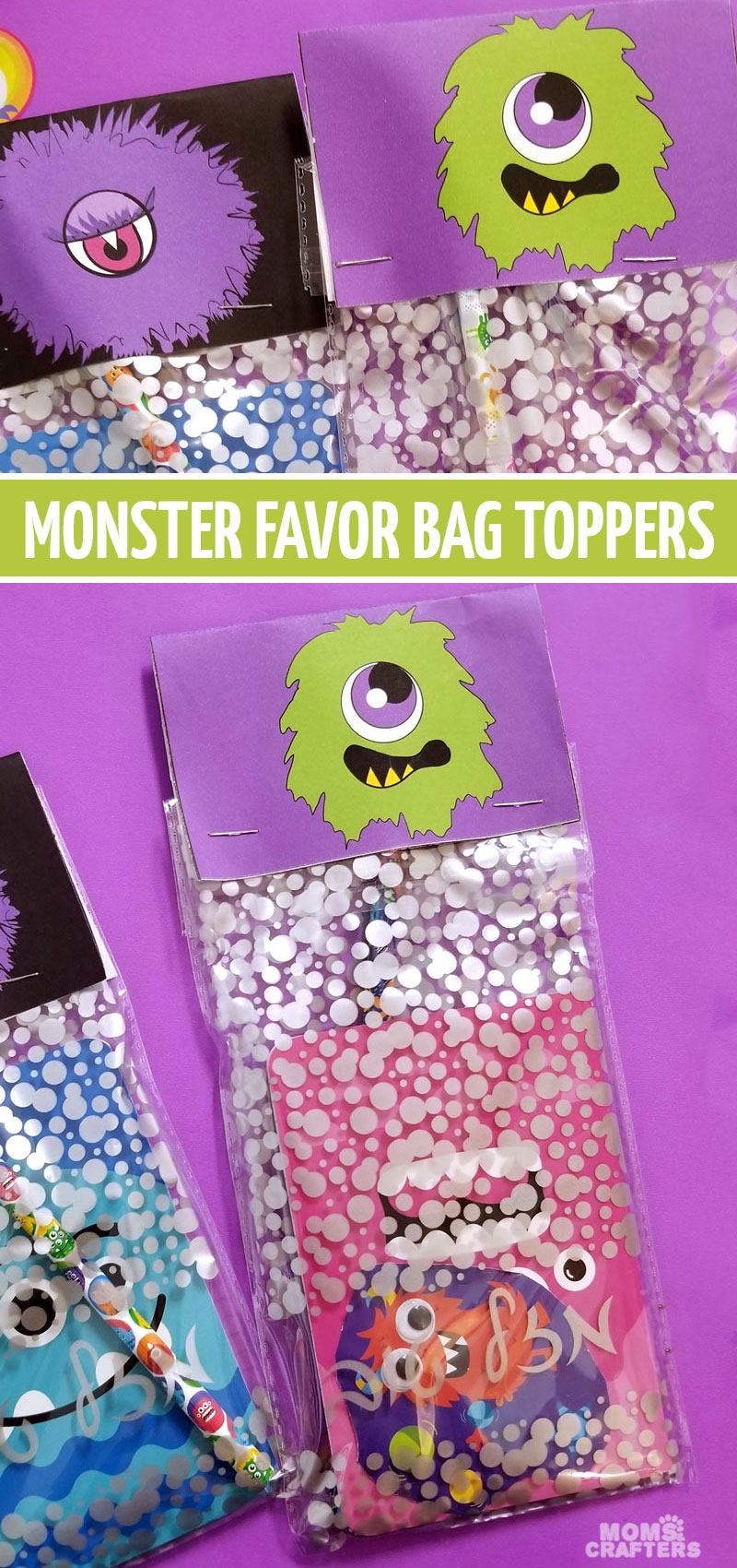 Click to download some monster party favors and bag toppers! This fun monster birthday party idea is so much fun for a third birthday or for a Halloween treat
