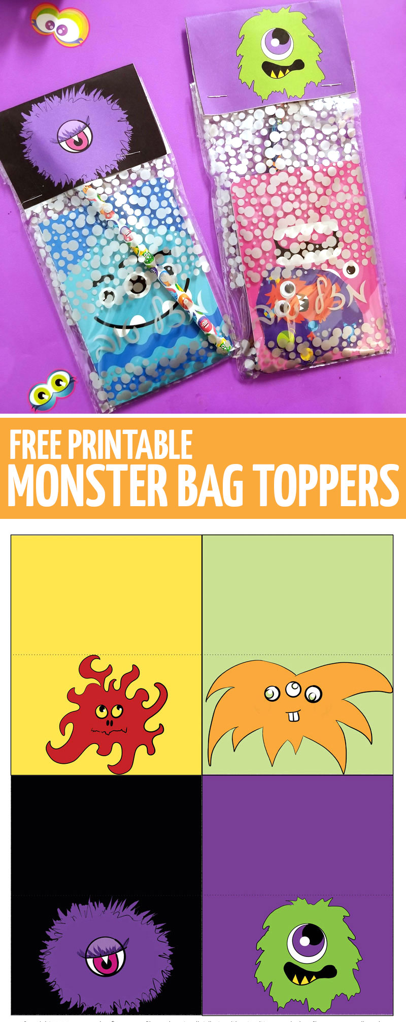 Throwing a monster theme birthday party? Make some monster party favors using these free printable bag toppers!