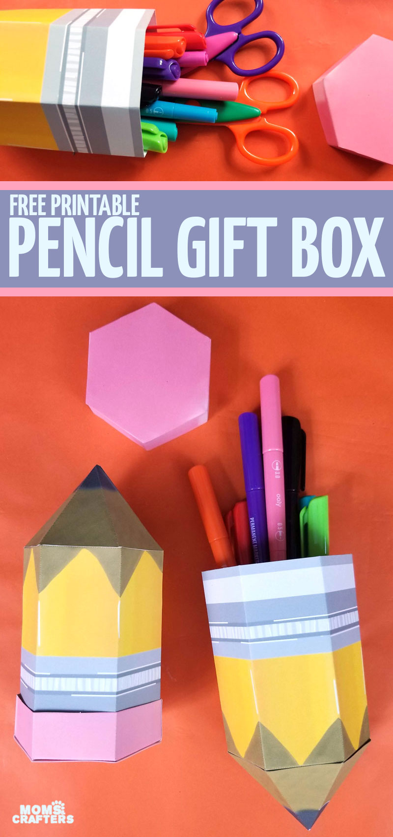 CLick for a free printable pencil box template! This can be great as DIY school supplies or a back to school treat - or even a party favor for an art themed party!