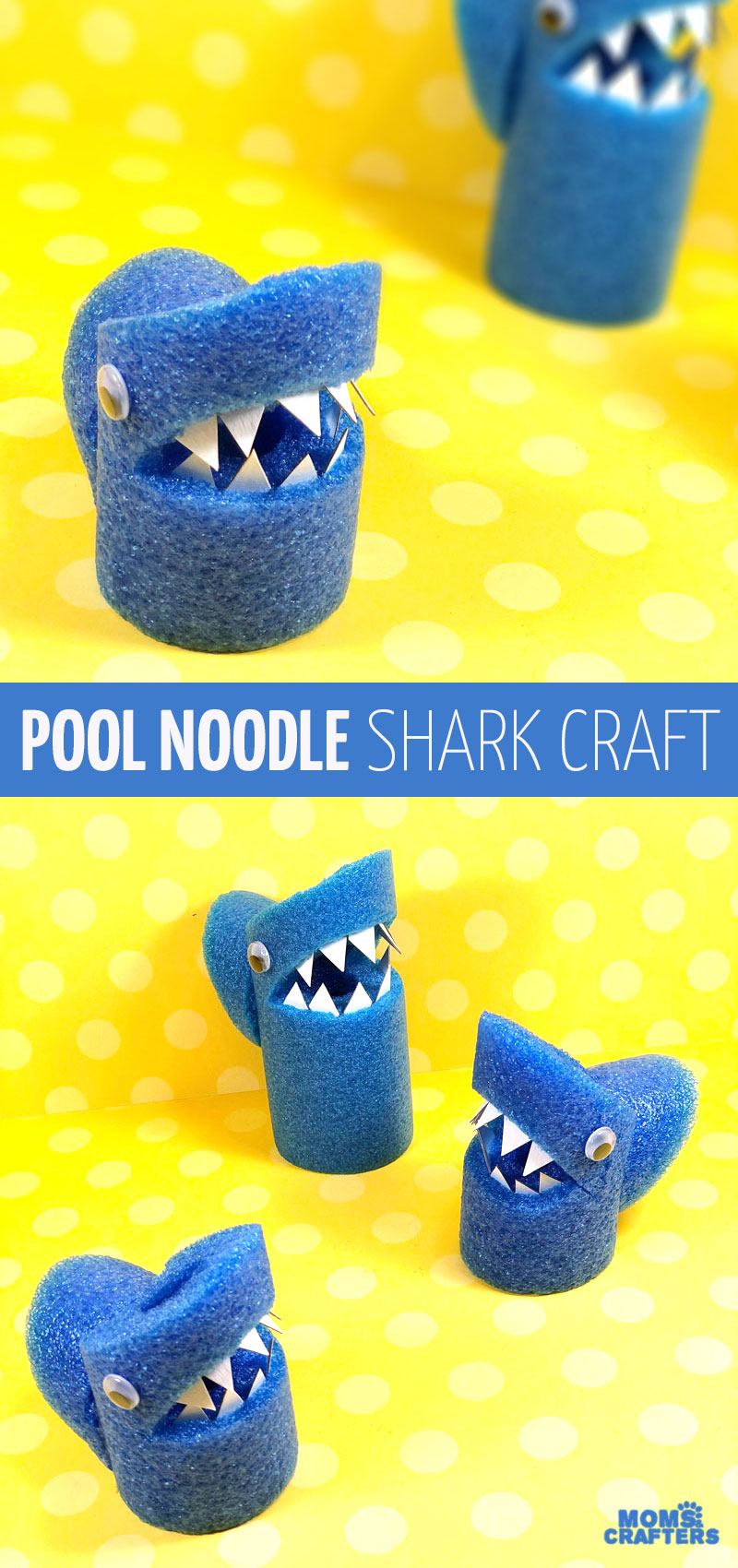 Make this adorable pool noodle shark craft for shark week or summer! This adorable dollar store craft uses pool noodles in a fun repurposed craft for kids.