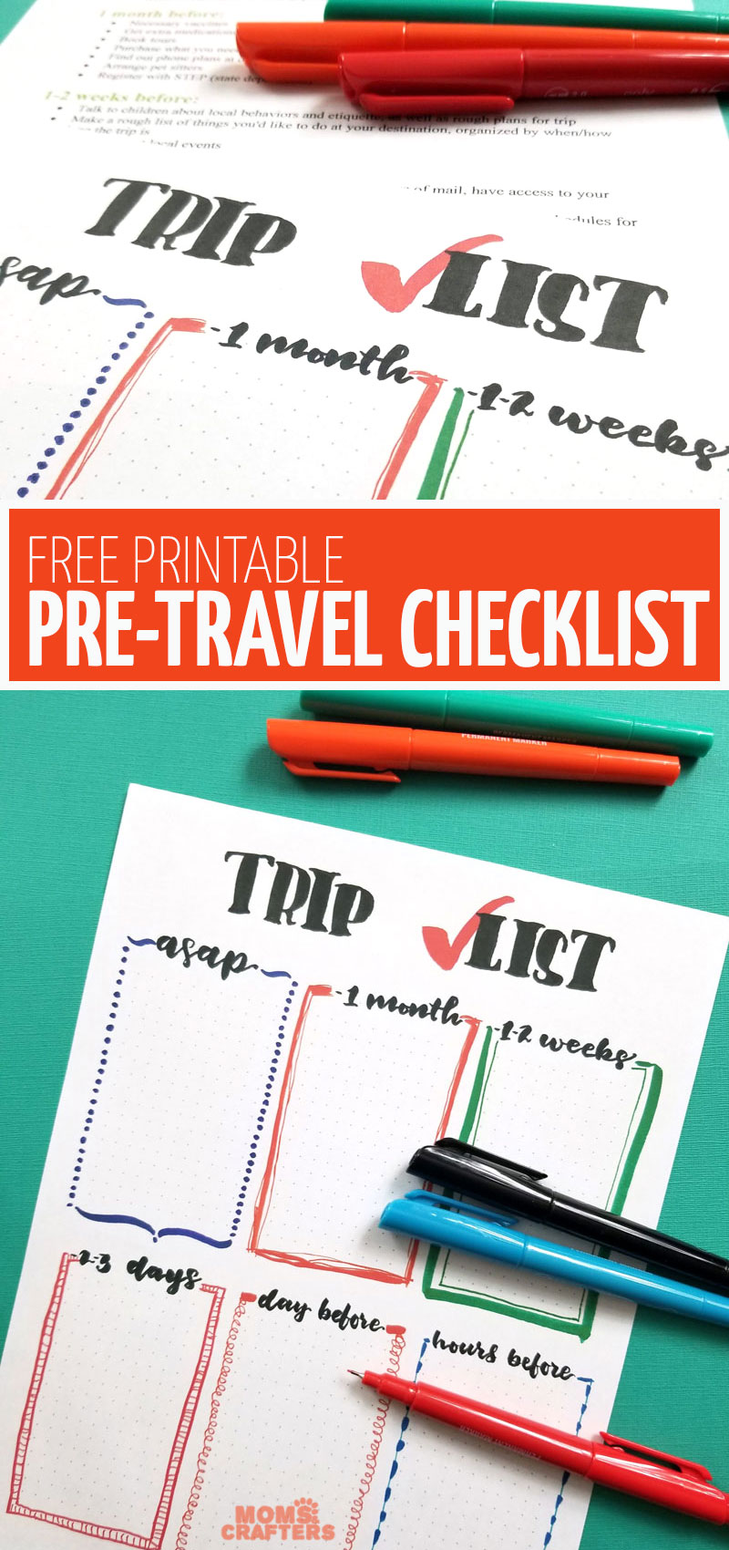 Grab your free printable checklist to have some fun on your next trip! This free printable travel with kids checklist is the perfect addition to your bullet journal or dot grid journal. It can be used as a planner insert and includes all sorts of traveling with kids tips and resources.