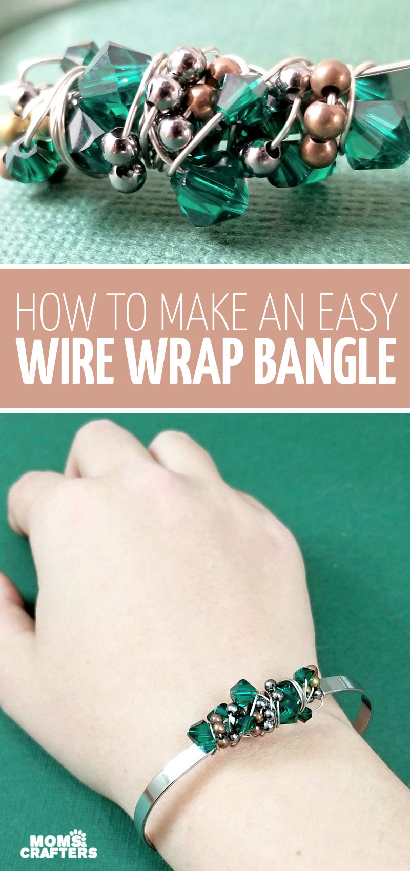 Make a stunning freeform wire wrapped bangle bracelet tutorial for beginners! You'll learn how to wire wrap bracelets and other jewelry. This jewelry making project for beginners looks really elegant and is great for Christmas or any day
