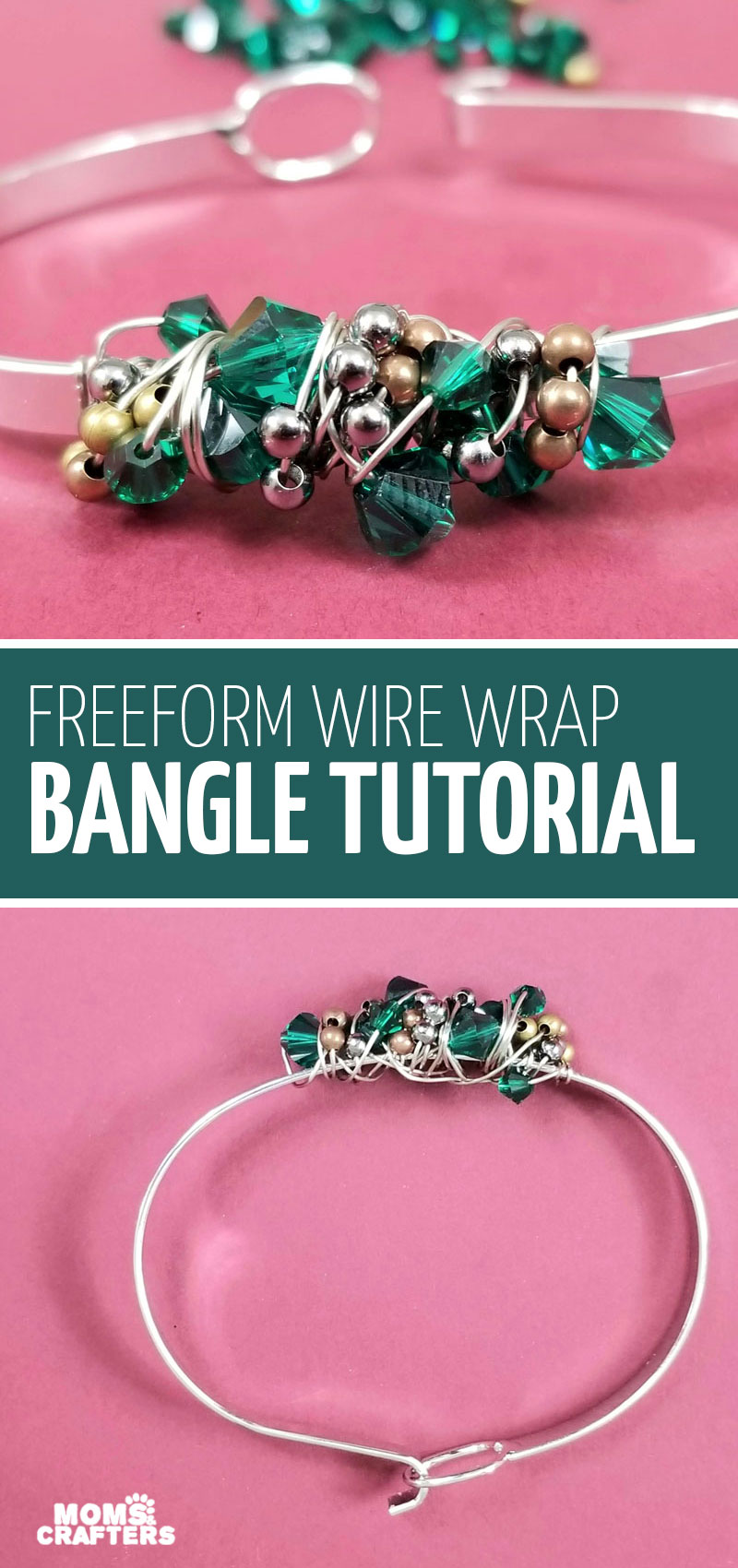 Click for this super duper easy wire wrapped bangle bracelet tutorial - a fun DIY wire wrapping project and jewery making idea for beginners through advanced!