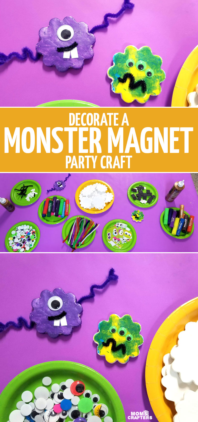 click to learn how we made this monster craft - DIY magnets - at our monster themed third birthday party! This fun monster party activity is a great take-home souvenir, Halloween craft, or make it for fun. It's good for toddlers, preschoolers, and kids of all ages!