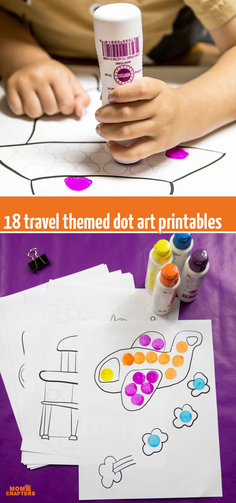 Grab these printable travel do a dot pages - do them with bingo markers or with dot stickers! You will also get more fun travel activities for kids to teach about travel themed homeschooling or teaching units OR to use as an airplane activity for toddlers.