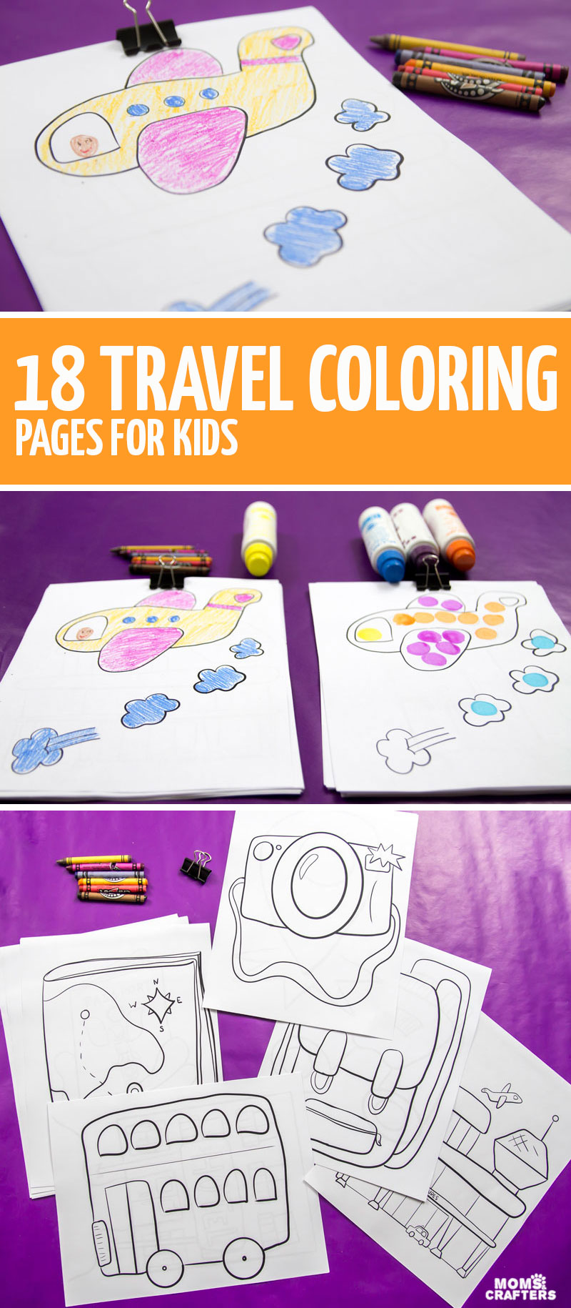 Click to check out this cool bundle of traveling coloring pages for kids - the perfect travel activities for toddlers and preschoolers to do on the airplane - and great plane travel activity binder fillers!