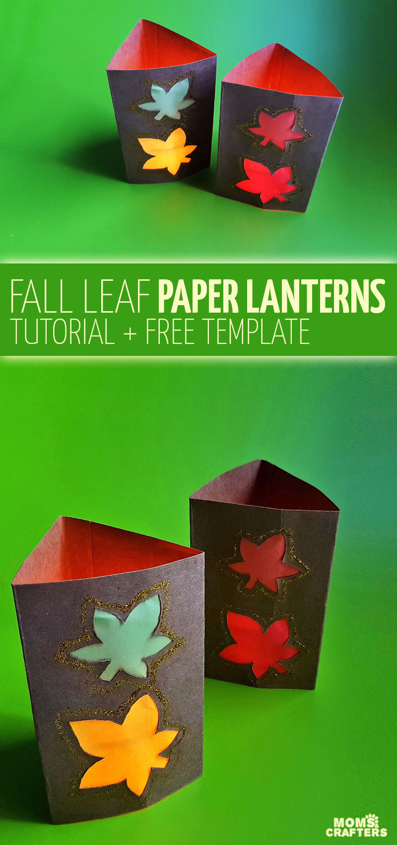 Click for a free printable template to make DIY fall luminaries and autumn paper lanterns! This paper cutting tutorial and template for fall is so easy and makes a great sukkah decoration and centerpiece too!