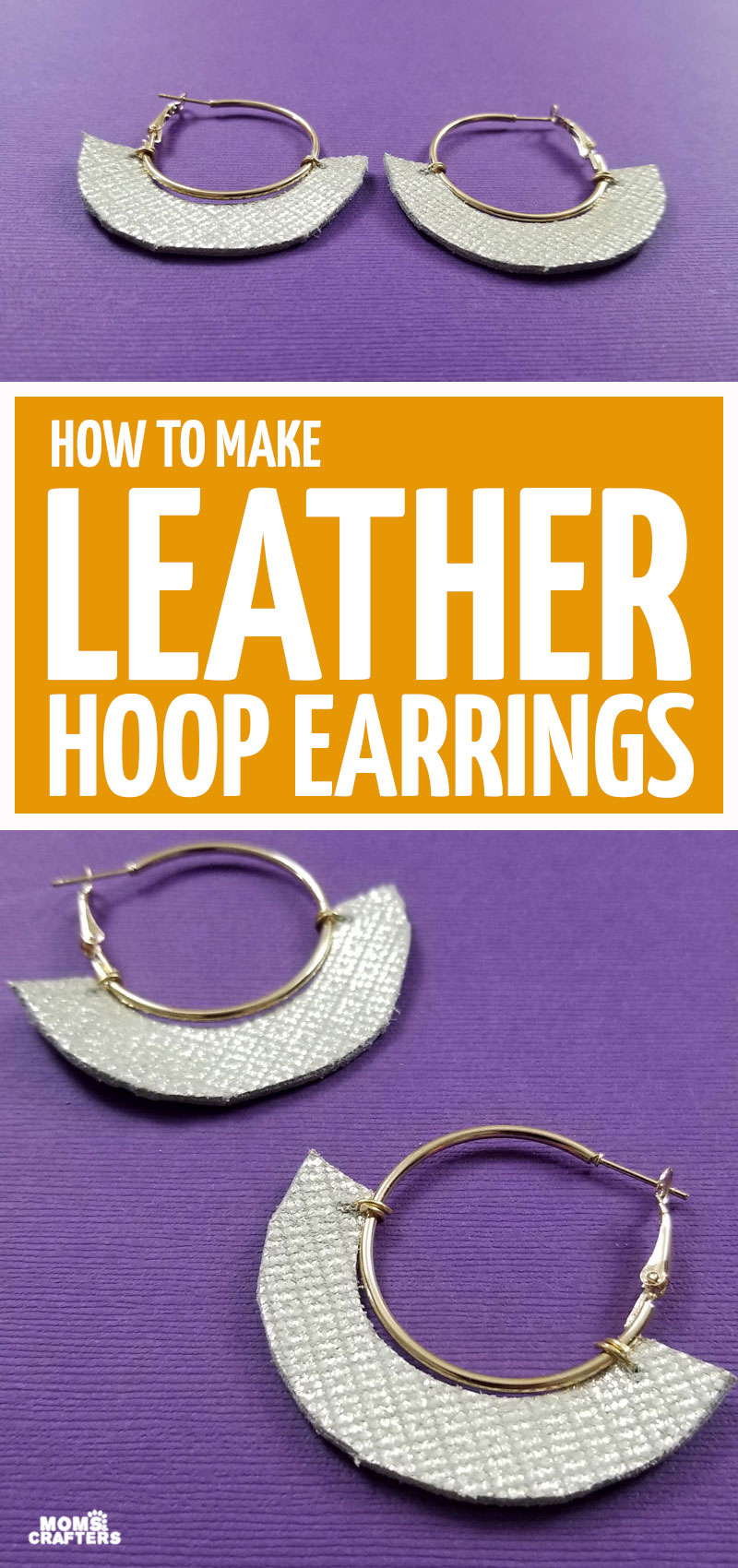 Click to learn how to make DIY leather hoop earrings using just a few materials! You need no experience to make this beginner jewelry making project and leather craft!