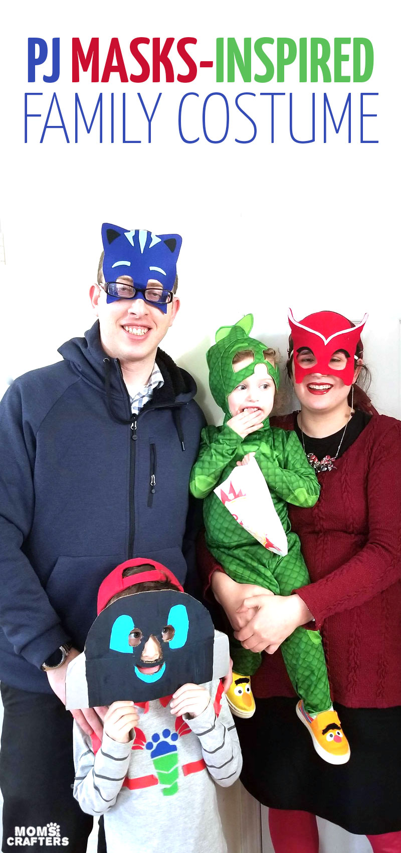 Click to check out our PJ masks family costumes! This DIY family costume idea is a great group costume for preschoolers, toddlers, and families. It includes PJ masks characters and inspired DIY costumes for catboy and owlette.