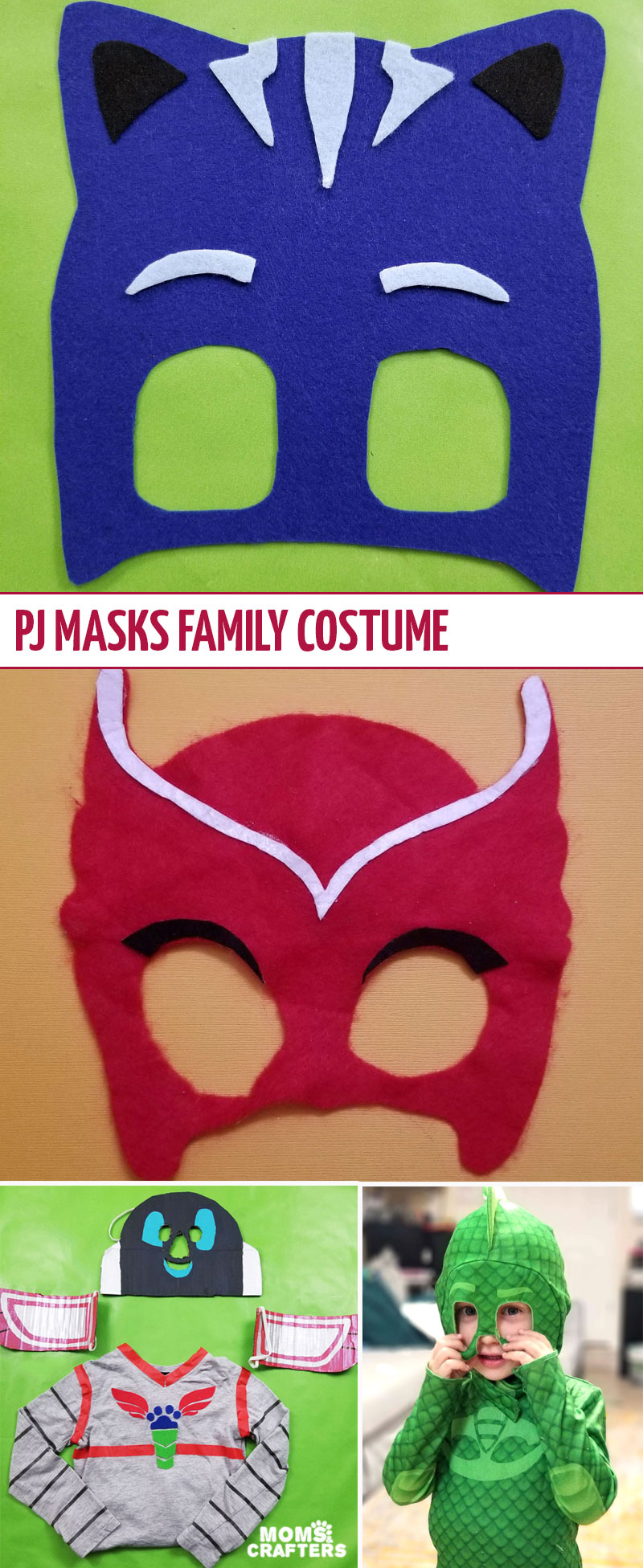 Click for an easy DIY PJ masks family costume idea! This fun costume includes a DIY catboy mask, a DIY owlette mask and matching outfit, and a Gecko costume that was purchased. It also features an adorable DIY PJ robot idea!