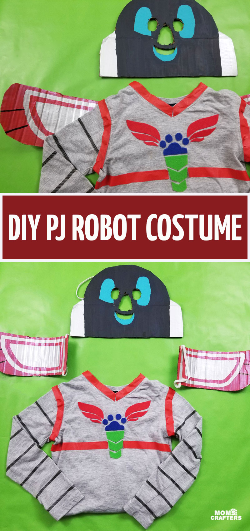 Craft your own PJ Robot costume - a fun DIY PJ Masks costume idea to make for Halloween, or Purim! This fun costume is made from an upcycled cardboard box and uses normal clothes that can be reused.