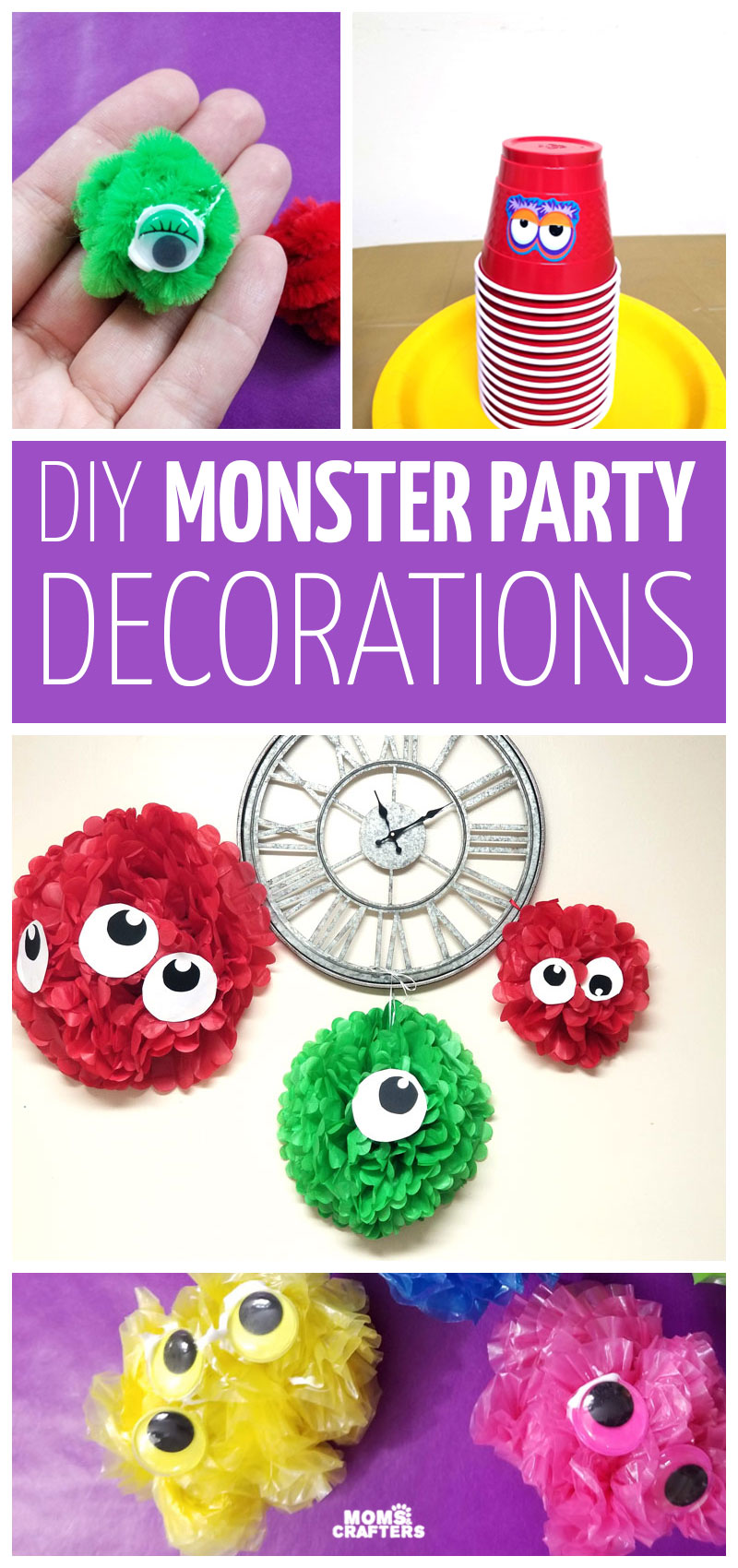 DIY monster party decorations that are easy to make - kids can help too! Such a fun theme for a three year old birthday party idea.