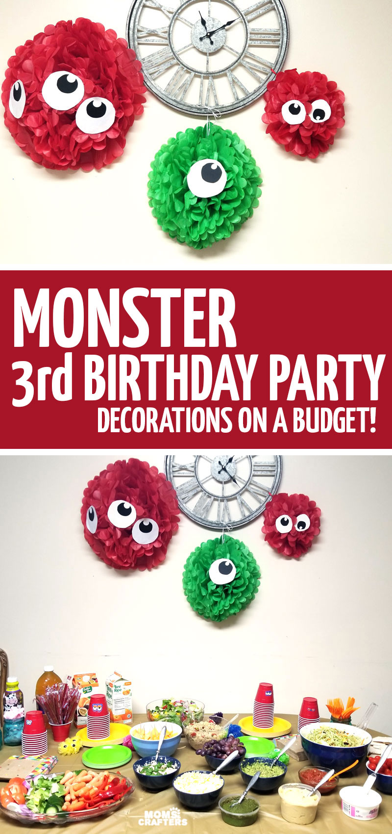 Click for easy DIY monster party decorations for a hairy monster themed birthday party. This was my son's first haircut, and is great for upsherin ideas and themes.