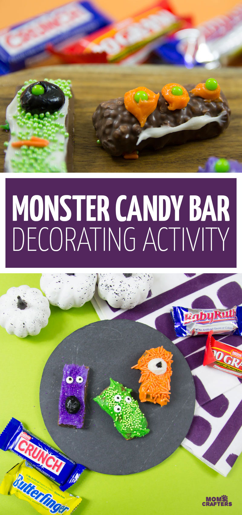 Click for a super fun monster candy bar decorating activity, a fun recipe using Butterfinger chocolate and more! This open-ended cooking with kids activity is fun for Halloween or a monster birthday party.
