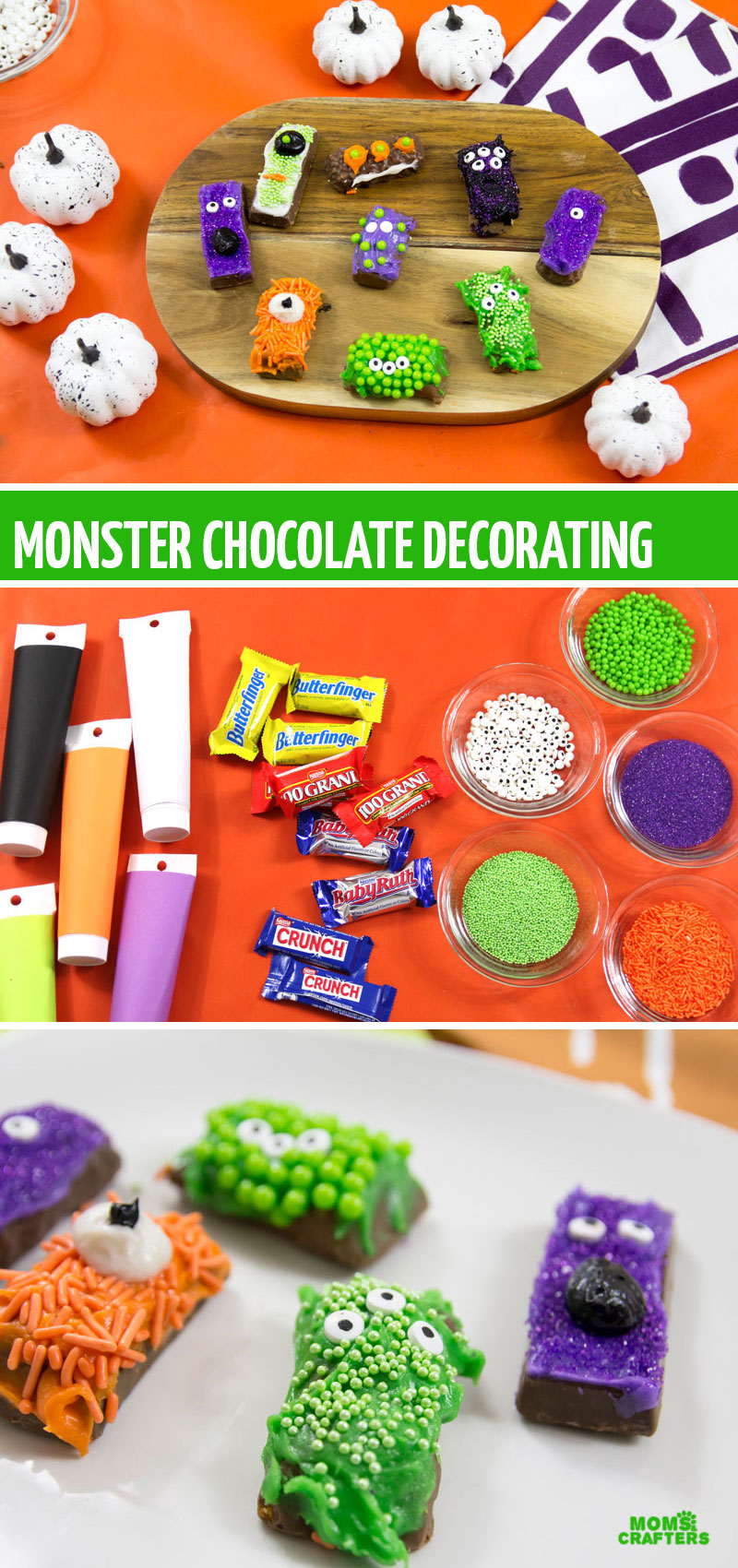 If you're looking for Halloween or Monster food ideas, this monster candy bar decorating idea is perfect for kids and adults to make! It's super easy and can be made in advance, and uses some favorite chocolate bars!