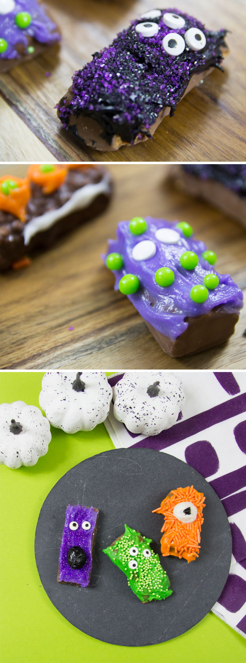 Learn how to make a monster candy bar tray to serve at your Halloween get together or as a kids cooking and food decorating activity!