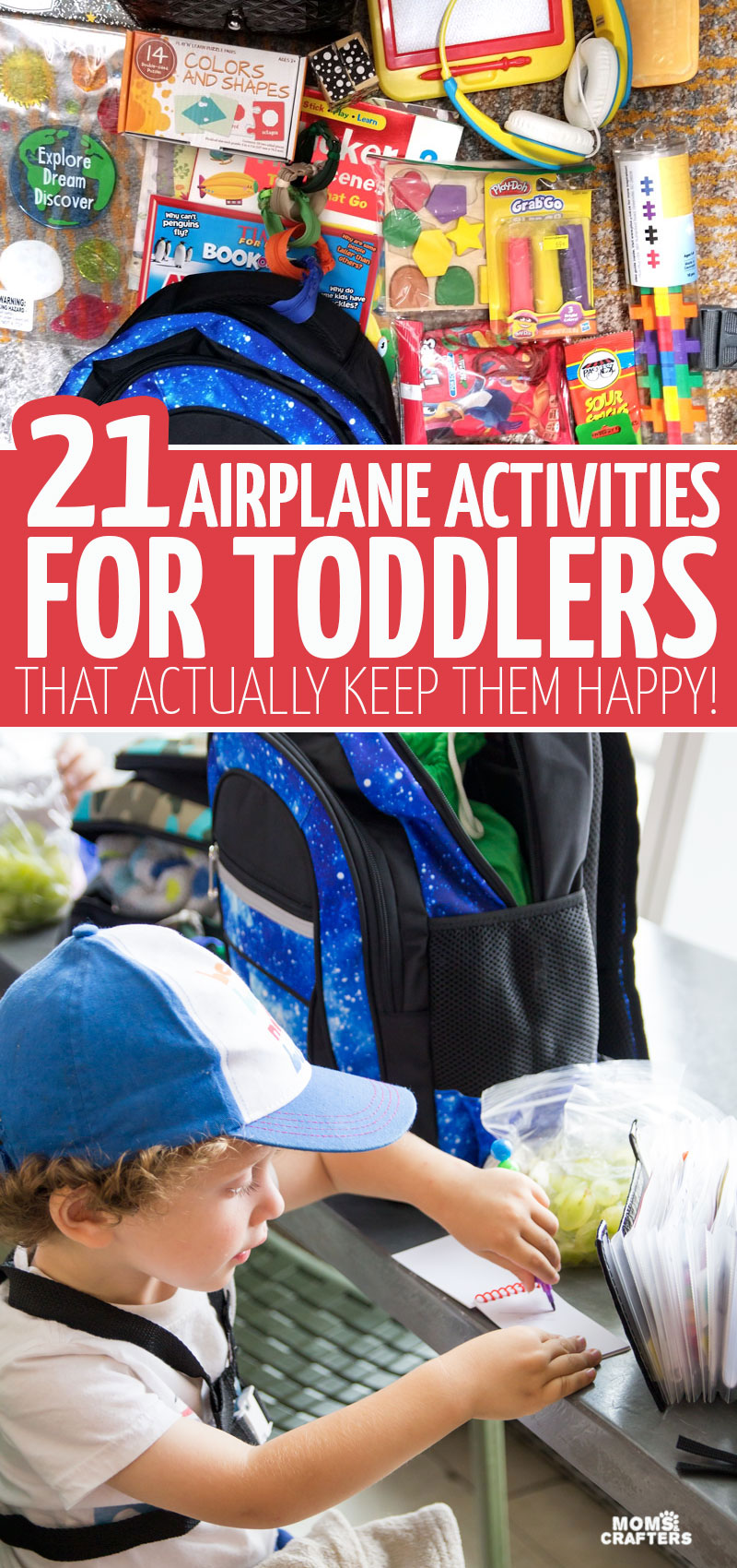 Click for 21 toddler airplane activities that actually work to entertain two and three year olds on long haul international flights! These busy bags and crafts are great ideas for children who travel far.