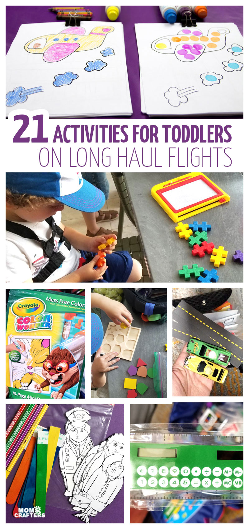Click for some activities and tips for travel with toddlers on a plane. This carry on packing list for 2 year olds and 3 year olds is perfect for long flights and include many tips for keeping them happy.